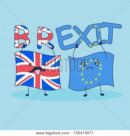 British flag is brexit to EU flag happily