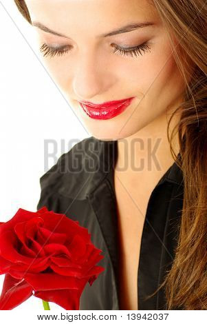 portrait of woman with red rose