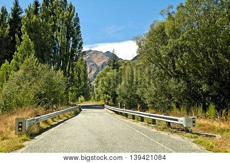 New Zealand south island landscape, road perspective