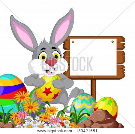 Rabbit with Easter egg and blank sign