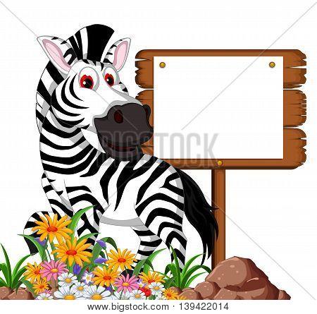 funny zebra cartoon posing with blank board