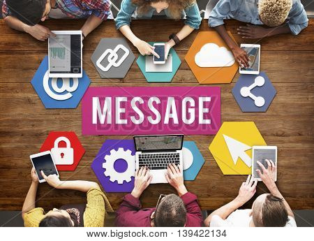 Message Browsing Statement Online Messaging Concept