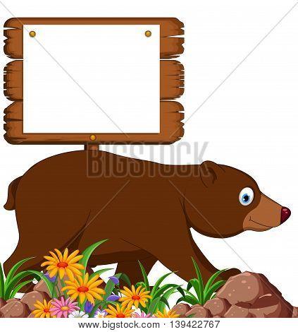 cute brown bear cartoon with blank sign