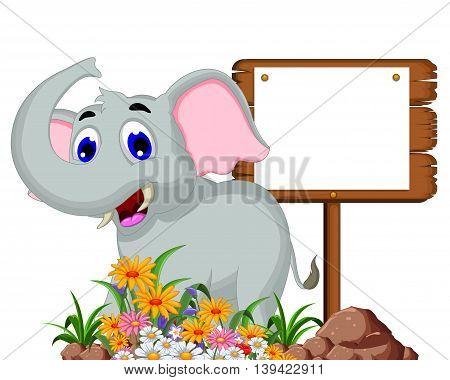Cute elephant cartoon with a blank sign