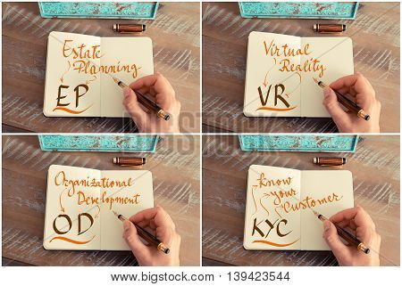Photo Collage Of Business Acronyms Written On Notebook