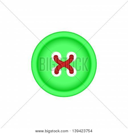 Sewing button in green design with sewing thread on white background
