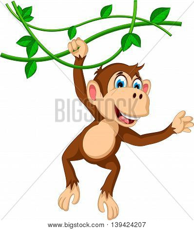 funny monkey cartoon hanging on a branch
