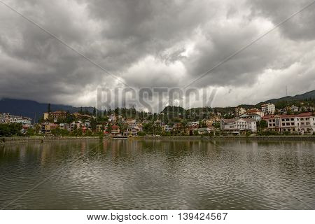 Sapa lake at the afternoon with clouds in the sky
