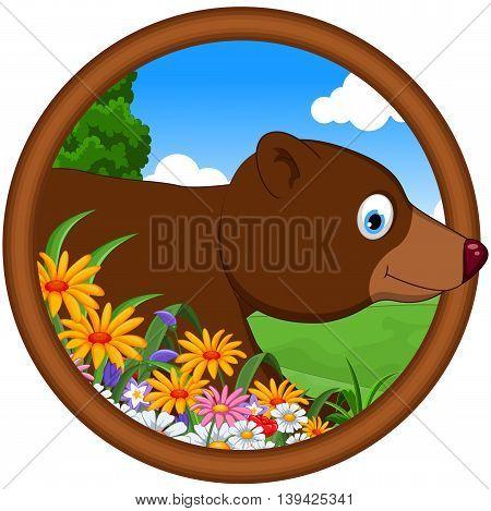 cute brown bear cartoon in a frame