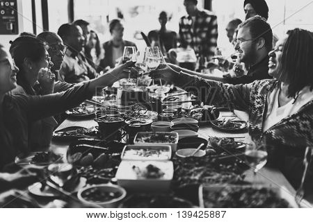 People Cheers Celebration Toast Happiness Togetherness Concept