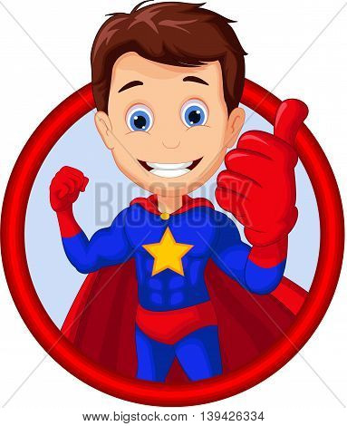 cute superhero cartoon thumb up in frame