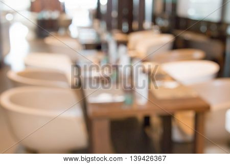 blur Modern restaurant or dinning room in a hotel