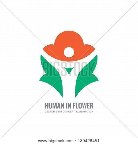 Abstract human character in flower - vector logo template concept illustration. Creative sign. Design element.
