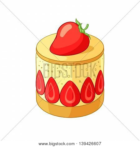 French classic strawberry Frasier dessert. Vector illustration isolated on white background.