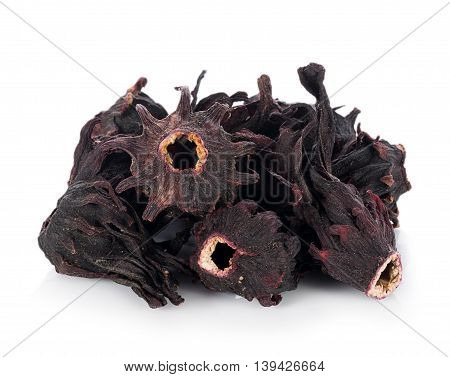 Dried roselle isolated on the white background