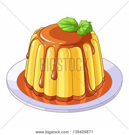 Creamy caramel flan dessert. Vector illustration isolated on white background.
