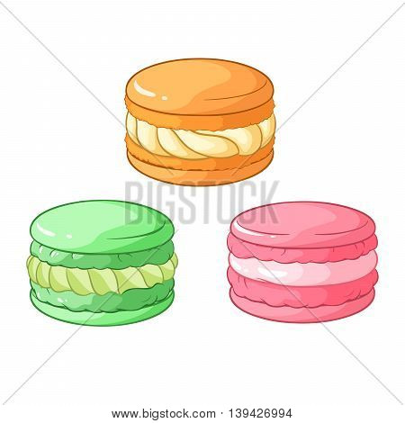 Colorful macarons dessert. Vector illustration isolated on white background.