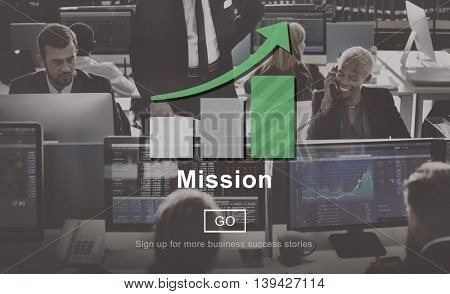 Mission Growth Bar Graph Aim Business Concept