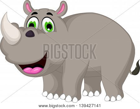 cute cartoon rhino smiling for you design