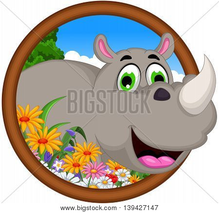 cute cartoon rhino in frame for you design