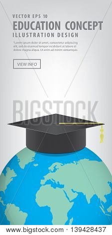 Banner World With A Graduation Hat On Top. Means Education Is Recognized By People All Over The Worl