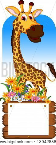 Cute giraffe cartoon with a blank board