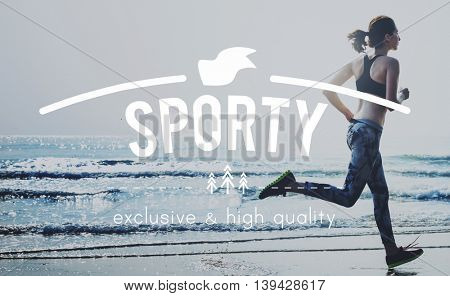 Sporty Action Active Athlete Exercise Health Concept