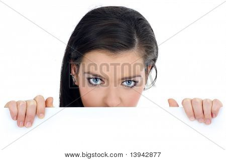 Female holding sign or board - Portrait of a beautiful woman holding a blank billboard, looking for you.