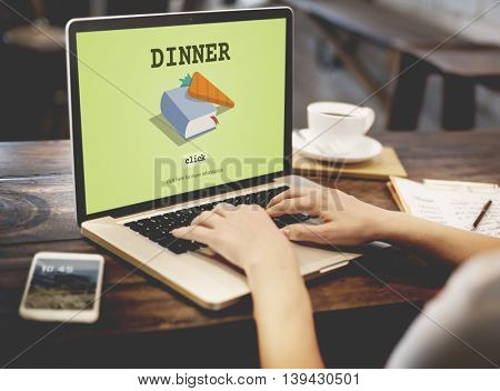 Dinner Cook Book Meal Preparation Concept