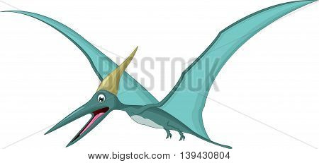 Happy pterodactyl cartoon flying for you design