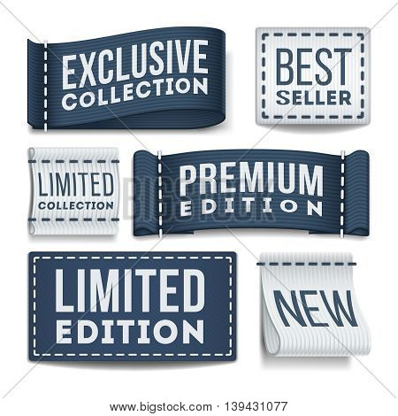 Clothing labels vector set. Tag label for clothing, illustration of sewn label