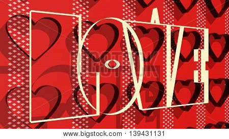 San Valentine card background with heart shapes. Love word lettering. 3D rendering