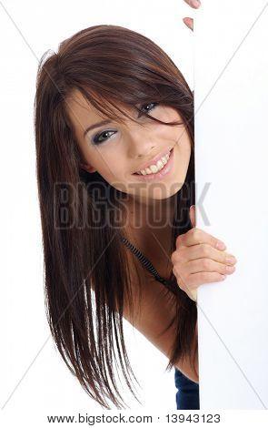 Sexy Girl holding eine leere Plakat.