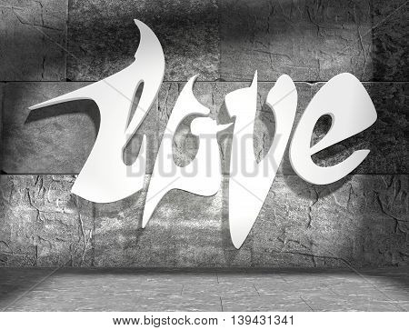 background relative to valentines day. Love text lettering on wall in empty concrete room. 3D rendering