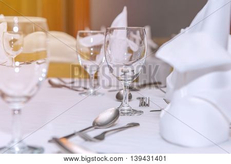Elegance Of Glasses On Table Set Up For Dinning Room