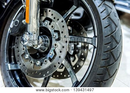 Close Up Of Motorbike Brake In Wheel