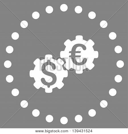 Financial Mechanics vector icon. Style is flat circled symbol, white color, rounded angles, gray background.