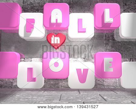 background relative to valentines day. Fall in love text on pink and white boxes in empty concrete room. 3D rendering