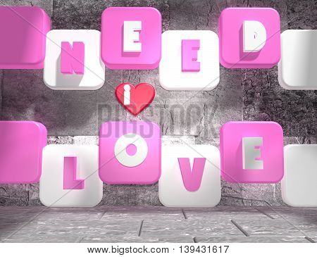 background relative to valentines day. Need love text on pink and white boxes in empty concrete room. 3D rendering
