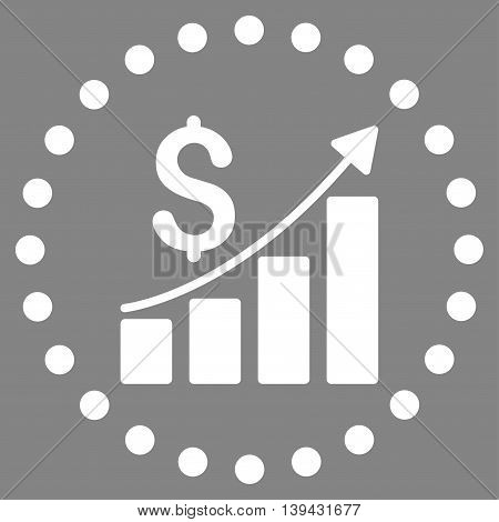 Financial Report vector icon. Style is flat circled symbol, white color, rounded angles, gray background.