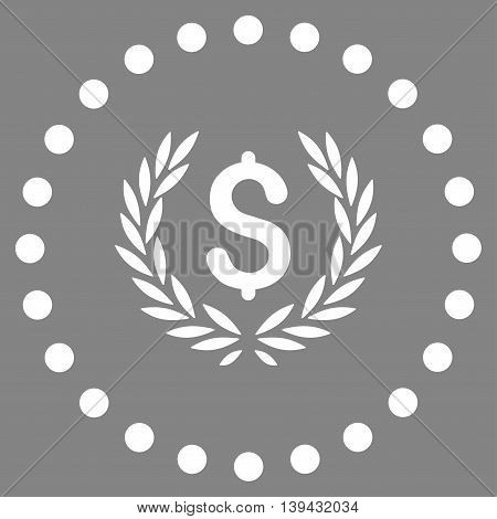 Laurel Bank Emblem vector icon. Style is flat circled symbol, white color, rounded angles, gray background.