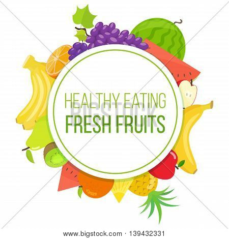 Set of colorful fruits in circle shape background. Template for packaging cards posters and eco food menu healthy lifestyle. Vector stock illustration.