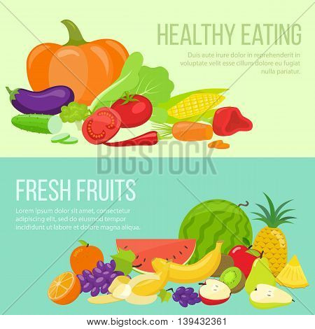 Set of fresh fruit and vegetable banners. Template for packaging cards posters and eco food menu healthy lifestyle. Vector stock illustration.