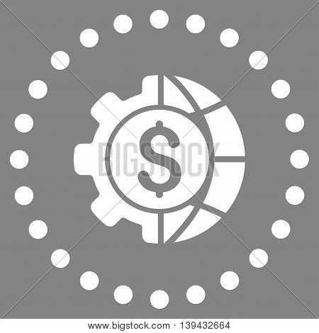 World Industry Finances vector icon. Style is flat circled symbol, white color, rounded angles, gray background.
