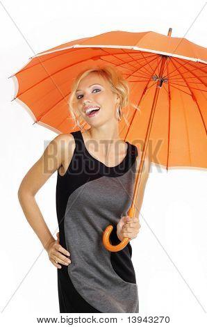 sexy Frau mit orange Regenschirm