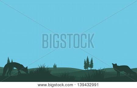 Fox in fields silhouettes design vector art illustration