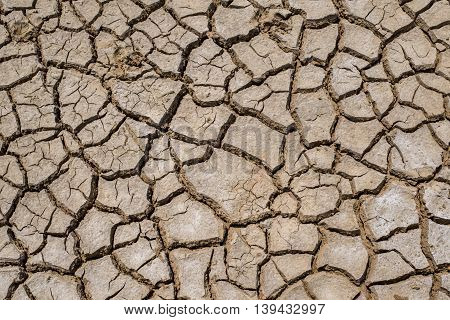 Crack Soil On Dry Season, Global Warming / Cracked Dried Mud / Dry Cracked Earth Background / The Cr
