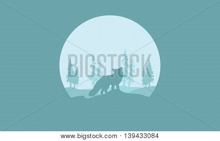Silhouette of one fox in the hills