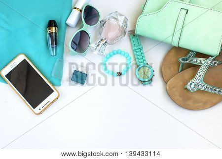 Summer Female Things  White Wooden Background.  Summer Concept.flat Lay.
