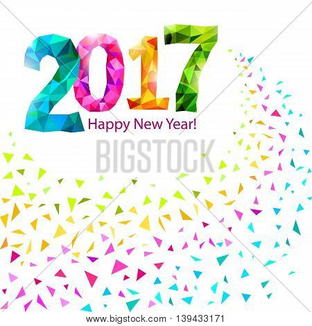 Happy New Year 2017 greeting card with colorful triangle shape multicolor confetti. Vector.
